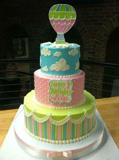 Hot air balloon cake - White Flower Cake Shoppe Ganache Cake, Buttercream Cake, Birthday Cake Girls, Birthday Cakes, Birthday Ideas, Birthday Parties, White Flower Cake Shoppe, Unique Cakes, Creative Cakes