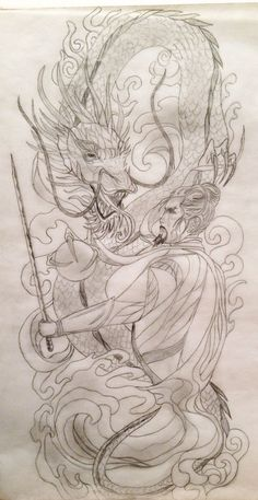 New Sacred Samurai and Dragon Tattoo Design