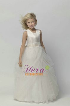 Flower Girls Dresses For Wedding Gowns White And Ivory Girl Birthday Party  Dress Ankle-Length Mother Daughter Dresses For Girls 2dfa57b9a2b8