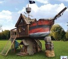 pirate ship playhouse. This is really cool. AHOY MATEY! A must see.