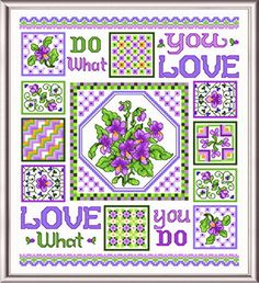 Violets in Spring cross stitch pattern designed by Ursula Michael.