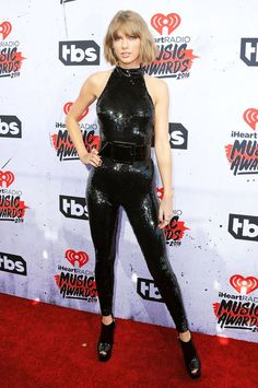 Taylor Swift killed it in the all black jumpsuit and black pumps