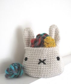 @Ruth H. H. H. H. H. Jozwiak Mcneil I need this, like on a bigger scale though to keep toys in.miffy crochet storage basket great for kids bedroom or home decor in all kawaii and rabbit lovers house,or as a way to put easter eggs in to give to unexpected visitors