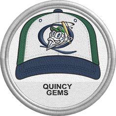 Quincy Gems hat - baseball cap - uniform - sports logo - Central Illinois Collegiate League - Minor League Baseball - Created by John Majka