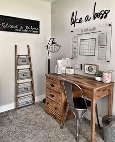 Image may contain: indoor via Image may contain: indoor – Home Office Design On A Budget Cozy Home Office, Home Office Chairs, Home Office Space, Home Office Design, Home Office Decor, Small Office Decor, Desk Chairs, Office Setup, At Home Office Ideas