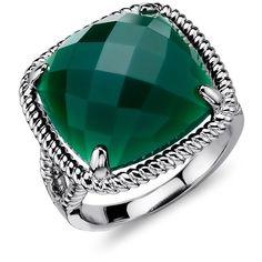 Blue Nile Green Agate Ring in Sterling Silver ($100) ❤ liked on Polyvore