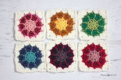 """Thanks for all the great feedback on the name for these little granny squares! By popular vote I decided to call them """"Dahlia Squares"""" but feel free to also think of them as Sunbursts, Pinwheels, Colorbursts, or Kaleidoscopes I was inspired to do this project after noticing how many little balls of yarn I had …"""