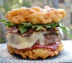 Funnel Cake Burger | 19 Insane Food Mashups You Can Actually Make Yourself