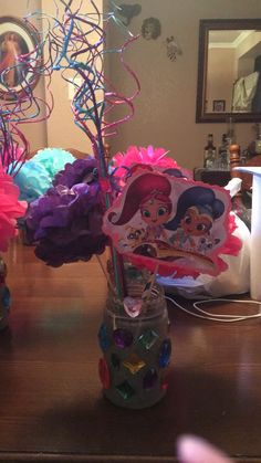 The centerpiece I made for my babies shimmer and shine party Kylie Birthday, Baby Girl Birthday, 6th Birthday Parties, Third Birthday, Birthday Ideas, Shimmer And Shine Decorations, Diy Party, Party Ideas, Cowgirl Party