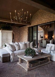 steinwand im wohnzimmer rustikale möbel