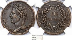 World Coins - France. Colonies of Central America. Charles X. AE 10 Centimes…