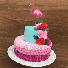 Flamingo Party, Flamingo Cake, Flamingo Birthday, 13 Birthday Cake, Luau Birthday, Hawaiian Luau Party, Cute Cakes, Party Cakes, Beautiful Cakes