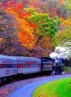 Fall leaf peeping train tour on the Western Maryland Railroad, Maryland