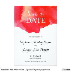 Romantic Red Watercolor Save the Date