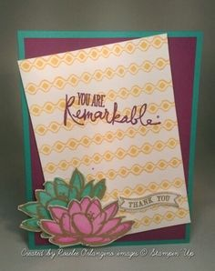 Stampin' Up bohemian borders, remarkable you itty bitty banners thank you card using Bermuda bay, rich razzleberry, and dafodil delight with gold embossing powder, watercolor paper and water pen