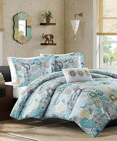 Another great find on #zulily! Blue Festive Floral Ciara Comforter Set by JLA Home #zulilyfinds