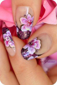 one stroke ombre lumière fleur japon Plus Nail Art Violet, Purple Nail Art, Floral Nail Art, Great Nails, Cool Nail Art, One Stroke Nails, Queen Nails, Sassy Nails, Finger