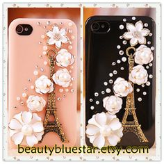 Eiffel Tower Flower Crystal Handmade iPhone 5 cover,iPhone 4,4s Dimond Cases ,Pearl Cell phone covers. $19.90, via Etsy.