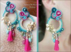 Macrame Earrings, Soutache Earrings, Ring Earrings, Tassel Necklace, Shibori, Thread Jewellery, Western Jewelry, Jewelry Patterns, Hippie Chic
