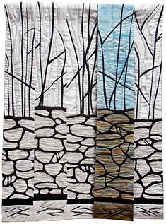 Walls, Bigland by Jill Holden Group Art Projects, Black And White Quilts, Textile Fiber Art, Landscape Quilts, Contemporary Quilts, Quilted Wall Hangings, Mini Quilts, Textiles, Art Forms