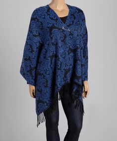 Look at this #zulilyfind! Black & Blue Damask Shawl - Plus #zulilyfinds