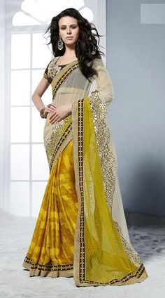 Yellow Crepe Jacquard Off White Net Half And Half Saree With Blouse