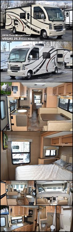 The 2016 Thor Motor Coach Vegas 25.3 Class A Motorhome is an RUV featuring a rear bedroom with a slide out, rear bath, and a dream dinette.