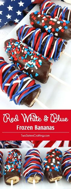 Red White and Blue Frozen Bananas - easy to make patriotic homemade chocolate covered frozen bananas for a of July Party or a Memorial Day Barbecue. Call them Frozen Bananas or call them Monkey Tails but this delicious frozen summer treat will be a gr 4th Of July Desserts, Fourth Of July Food, 4th Of July Celebration, 4th Of July Party, Holiday Desserts, Holiday Treats, Holiday Recipes, Fourth Of July Recipes, Patriotic Party