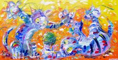 """Buy Children's Art, cats, - """"Highly Strung"""", Acrylic painting by Andrew Alan…"""