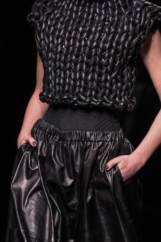 GORGEOUS black leather knit top!! Amazing what can be knit...leather, twine, rope, tshirts, plastic bags, silk ribbon, the list is endless!!!