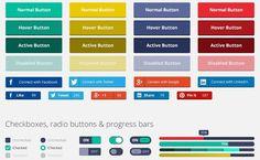 Flat Rounded Square, set de elementos gratis para interfaz de usuario