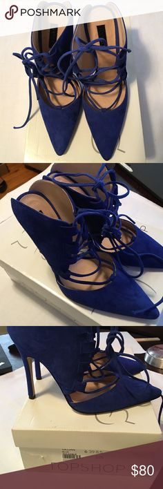 TopShop Blue Lace Up Mules Royal Blue Mules. True to size. Tried on in the store but never worn outside. Can be dressed up or down. Smoke free home. Topshop Shoes Heels