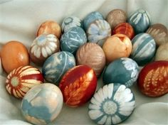 Coolest Easter eggs ever, all natural dyes and stencils.