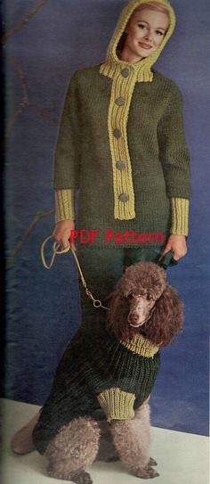 Matching vintage Dog and Hooded Woman's knit  Sweaters pattern. Both come in 3 sizes. Dog sizes- sm, med, lg. Women's sizes- 12, 14, 16. That's 6 sizes for one low price. WOW!  by BubbleGumInTheMail, $4.25