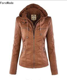 3f5352083987 Günstige ForeMode Jacke European Fashion Revers Abnehmbaren Reißverschluss  Damen Lederjacke Mantel Langarm brown frau jacke mit