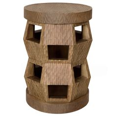 """Bungalow 5's Zanzibar side table and stool lends functional, contemporary style. This versatile, lacquered mahogany accent's textural surface enhances an architectural design in a Driftwood beige finish. Wipe down with soft cloth; 13""""W x 13""""D x 19.5""""H"""
