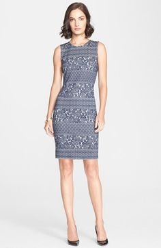St. John Collection Sleeveless Floral Jacquard Knit Sheath Dress available at #Nordstrom