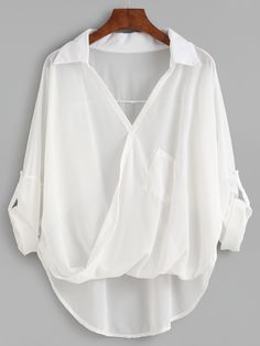 SheIn offers White Dip Hem Wrap Blouse & more to fit your fashionable needs. Wrap Blouse, Collar Blouse, Mode Outfits, Stylish Outfits, Blouse Styles, Blouse Designs, Fashion Clothes, Fashion Outfits, Women's Fashion