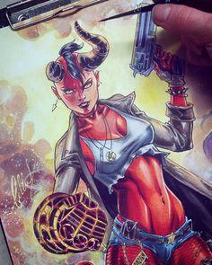 2,102 vind-ik-leuks, 34 reacties - Bella Rachlin (@bella_rachlin) op Instagram: 'Finished Hellgirl commission!! Had so much fun  #hellboygirl #hellboy #tankgirl #darkhorse…'
