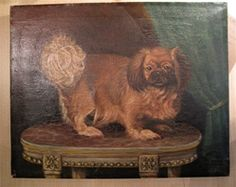 Pekingese or Japanese Chin Dog Oil Portrait, G. Morlaux, 1928