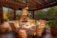 Outdoor fireplace create instant ambiance for gatherings. From fancy to rustic, modern to old-school, find an outdoor fireplace design to suit your home's Outside Living, Outdoor Living Areas, Outdoor Rooms, Outdoor Decor, Living Spaces, Outdoor Kitchens, Outdoor Seating, Backyard Patio, Backyard Landscaping