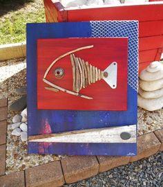 """Tableau du poisson """"Nickel"""" en bois flotté : Peintures par les-toiles-de-mer-de-syl"""