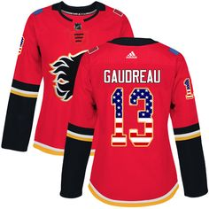 ab52a03fc Adidas Calgary Flames  13 Women s Johnny Gaudreau Authentic Red USA Flag Fashion  NHL Jersey