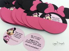 Convite Minnie Personalizado | Ligia Orsati Designs | 37780D - Elo7 Theme Mickey, Minnie Mouse Theme Party, Minnie Mouse 1st Birthday, Minnie Mouse Pink, Mickey Party, Mouse Parties, First Birthday Parties, Birthday Party Decorations, First Birthdays