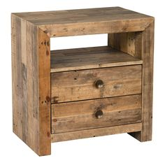 This two drawer eco-friendly nightstand has ample space to store books and glasses while showcasing the natural imperfections and knots from reclaimed pine materials that makes each piece unique. Furn