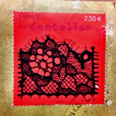 French lace postal stamp