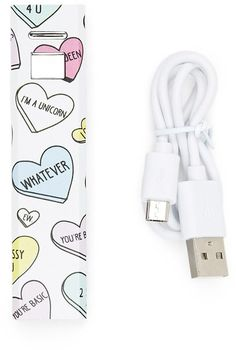 FOREVER 21 Heart Print Phone Charger