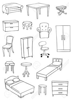 Illustration of furniture set vector art, clipart and stock vectors.