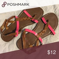 Nicole sandals Nicole. Size 8.5. Brown with hot pink accents. Great condition. Smoke free. Nicole Shoes Sandals
