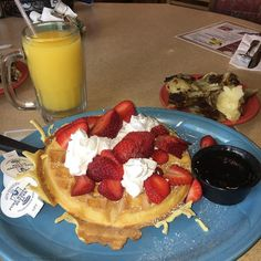 Belgian Waffle with strawberries and whipped cream with a side of home style potatoes!  #melsdiner #naplesfl #naplesflorida #belgianwaffles #waffles #strawberry #potatoes